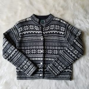 Vintage J. Crew Nordic Wool Cardigan Size Medium